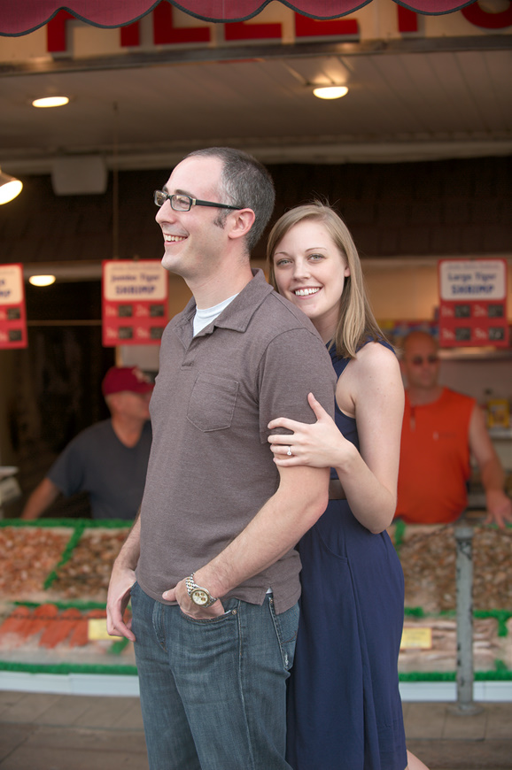 Summer and Adam's engagement session at the Maine Avenue fish market by Washington DC wedding photographer Ben Rasmussen Photography