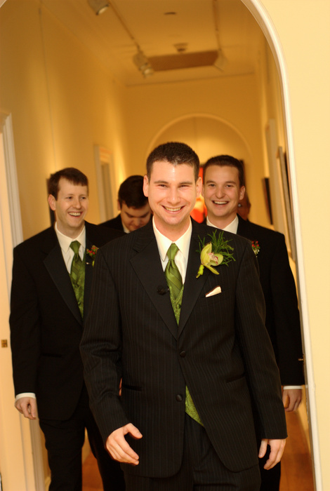 Groom and groomsmen walking down hall | Washington DC Wedding Photographer, Ben Rasmussen Photography