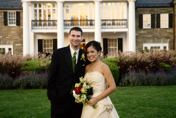 Bride and groom portrait in front of Glenview Mansion | Washington DC Wedding Photographer, Ben Rasmussen Photography
