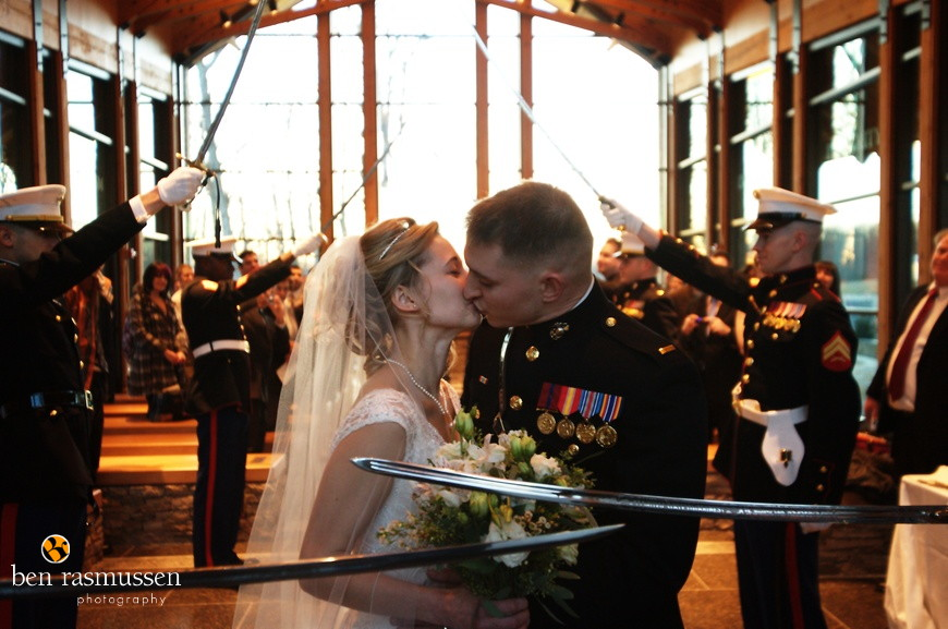 Wedding photography at the Semper Fidelis Memorial Chapel by Washington DC wedding photographer Ben Rasmussen Photography